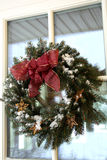 Christmas twig wreath with snow Royalty Free Stock Photography