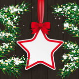 Christmas Twigs Wood Star Red Ribbon Royalty Free Stock Photo