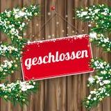 Christmas Twigs Worn Wood Geschlossen Sign Royalty Free Stock Photography