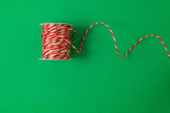 Christmas twine on green background, top view Royalty Free Stock Photography