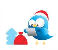 Christmas twitter Blue bird Royalty Free Stock Photo