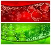 Christmas two background with trees and balls Stock Image