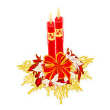 Christmas two candles with ribbon and poinsettia vector Royalty Free Stock Photo