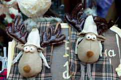 Elk, cloth, puppet,Christmas, double. Two elk puppets with cap Royalty Free Stock Images
