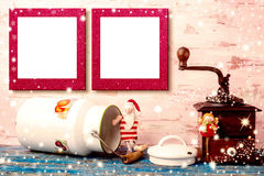 Christmas two empty photo frames card