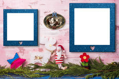 Christmas two empty photo frames card Stock Photo