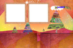 Christmas two photo frames cards. Christmas photo frames cards, two empty frames to put photos over a cute christmas paper landscape with copy space for message Royalty Free Stock Photos