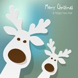 Christmas two Reindeers white on a blue bokeh background. Christmas two Reindeers white on a blue bokeh background royalty free illustration