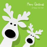 Christmas two Reindeers white on a green background. Christmas two Reindeers white on a green background vector illustration