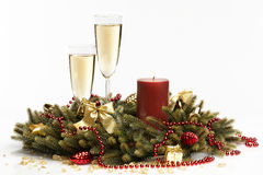 Christmas for two. Romantic christmas decorations with champagne Royalty Free Stock Photography