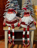 Toy, puppet, cloth, santaclaus,Christmas. Two Santa claus cloth puppet sit on the table Stock Photography