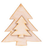 Christmas two trees shape made of wood decoration Stock Photography