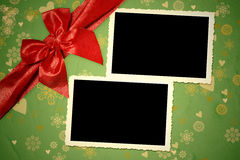 Christmas two vintage empty photo frames Stock Photos