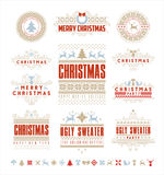 Christmas Typographic and Calligraphic  vintage labels, Stock Photos