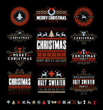 Christmas Typographic and Calligraphic vintage labels, Royalty Free Stock Images