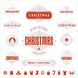 Christmas Typographic and Calligraphic vintage labels, Stock Image