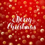 Christmas Typographic Label for Xmas Holidays Design on Red Blurred Background with Bokeh and Light Effects. Vector. Illustration Stock Photography