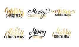Christmas. Typographic logo set for Christmas design. Hand letetring calligraphy Merry Christmas.  Royalty Free Stock Images