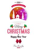 Christmas typographical background. Watercolor Royalty Free Stock Image