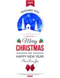 Christmas typographical background. Watercolor Stock Images