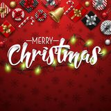 Christmas typographical red background with lights bulb and elements. Illustration of Christmas typographical red background with lights bulb and elements Royalty Free Stock Images