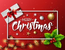 Christmas typographical red background with lights bulb and elements. Illustration of Christmas typographical red background with lights bulb and elements Stock Image