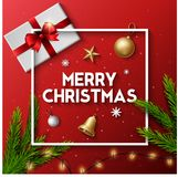 Christmas typographical red background with lights bulb and elements. Illustration of Christmas typographical red background with lights bulb and elements Stock Images