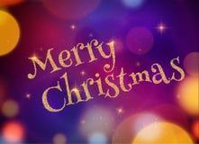 Christmas Typography on dark Xmas background with glowing light, stars. Vector Illustration. Xmas card invitation Stock Photos