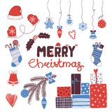 Christmas typography and design elements set royalty free illustration