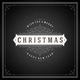 Christmas typography greeting card and flourishes Stock Photo