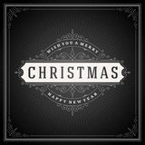 Christmas typography greeting card and flourishes Royalty Free Stock Images