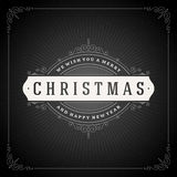 Christmas typography greeting card and flourishes Stock Images