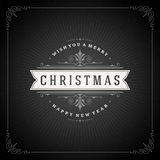 Christmas typography greeting card and flourishes Royalty Free Stock Image