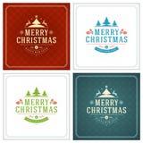 Christmas Typography Greeting Cards Design Set. Stock Photos