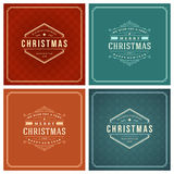 Christmas Typography Greeting Cards Design Set. Stock Images
