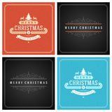 Christmas Typography Greeting Cards Design Set. Merry Christmas and Holidays wishes retro style vintage ornament decoration. Texture Snowflakes pattern Royalty Free Stock Image