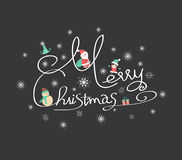 Christmas typography, handwriting Stock Photos