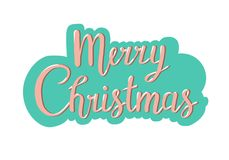 Christmas typography, handwriting lettering greeting card design royalty free illustration