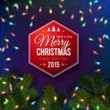 Christmas typography label design. Stock Photo
