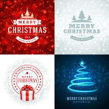 Christmas typography labels design and vector. Backgrounds set. Greeting card or invitation and holidays wishes Stock Photo