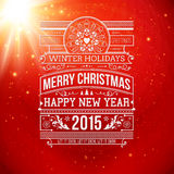 Christmas typography for your winter holidays design. Stock Images