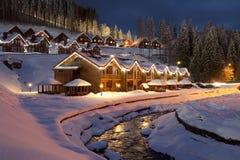 Christmas in Ukraine Bukovel. Ski resort Bukovel in Ukraine on Christmas Eve stock photography