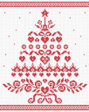 Christmas Ukrainian ornament red tree vector seamless texture Royalty Free Stock Photography