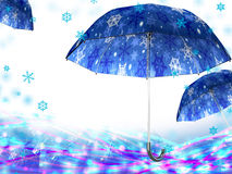 Christmas umbrella card Stock Photos