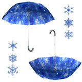 Christmas umbrella set Stock Photos