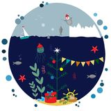Christmas under the sea. EPS 10 Royalty Free Stock Image