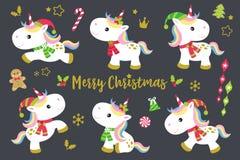 Christmas Unicorns Set Royalty Free Stock Photography