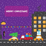 Christmas urban night scene. Cars with presents and christmas tree Royalty Free Stock Photos