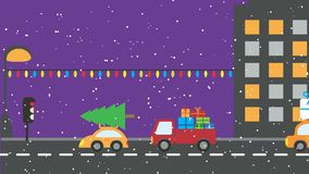 Animation: christmas urban night scene - cars with presents and christmas tree. Christmas urban night scene - animated cars with presents and christmas tree stock video