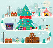 Christmas urban and rural landscape in flat design. City winter life with modern icons of urban and suburban buildings. New Year tree, amusement park Royalty Free Stock Photography